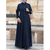 Women Solid Color Turn-down Collar Long Sleeve Maxi Shirt Dress