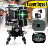3D 12 Line Blue Light Laser Level LCD 360° Rotary Self Leveling Cross Measuring Tool