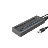 USB 3.0 Hub Super Speed Splitter, 10 Port USB Data Hub mit Netzteil, individuellen Ein / Aus-Schaltern und Leuchten für Laptop, PC, Computer, mobile Festplatte, Flash Dr (10 Ports schwarz