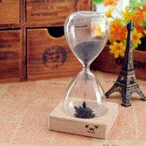 Железные порошковые магнитные песочные часы с деревянной игрушкой стола держателя