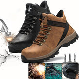 Mens Safety Shoes Steel Toe Work Boots High Top Running Shoes Camping Waterproof Outdoor Sneakers