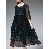 Plus Size Floral Chiffon Patchwork Half Sleeve Women Dress