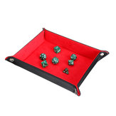 Multisided Dice Holder Polyhedral Dices PU Leather Folding Rectangle Tray for RPG