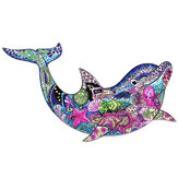 A3/A4/A5 3D Wooden Dolphin Jigsaw Puzzle DIY Each Animal Shaped Crafts Toy Anti-stress Early Learning Education Gift For Kid and Adults