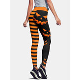 Halloween Women Pumpkin & Stripe Print High Waist Hip Lifting Sport Pants