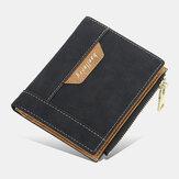 Portafoglio porta carte di credito Baellerry da uomo in ecopelle da lavoro con cerniera verticale Sottile