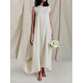 فستان قطن سادة اللون ، بدون أكمام ، وبدون أكمام ، بجيوب جانبية