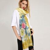 女性ロマンチックなローズプリントスカーフ夏フラワースカーフ