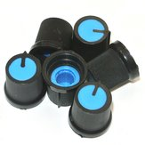 30Pcs Blue Plastic For Rotary Taper Potentiometer Hole 6mm Knob