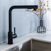 Matte Black Stainless Steel Faucet For Kitchen Sink Single Lever Pull Out Spring Spout Mixers Tap Hot Cold Water
