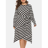 Plus Size Women Casual O-neck Striped Belted Midi Dress