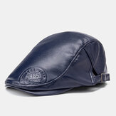 Collrown Heren Kunstleer Retro Effen Kleur Universele All-Match Forward Hat Baret Hat
