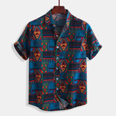 Mens Vintage Fashion Ethnic Modello Stampa camicie estive
