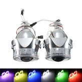 2.5 Inch H1/H4/H7 Bi-Xenon HID Projector Headlights Conversion Kit with Lens CCFL Angel Eyes Halo Ring Lights Shroud LHD