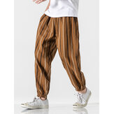 Banggood Designer 100% Cotton Mens Vintage Style Stripe Print Elastic Waist Casual Pants With Pocket