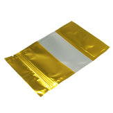 100pcs Gold Aluminum Foil Stand Up Bags Zip Lock Mylar Pouches With Window Food Grade