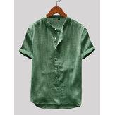 Hommes coton lin manches courtes couleur unie loisirs Henley chemises