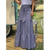 Женские юбки-качели в клетку со шнуровкой и эластичной талией