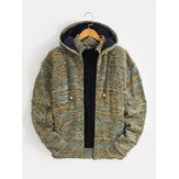 Mens Knitted Zipper Vintage Hooded Cardigans With Pocket