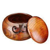 Bamboo Yarn Bowl Holder With Lid Wooden Skeins Knitting Crochet Thread Box Storage Baskets