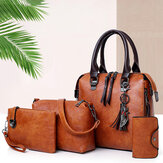 4 PCS Mujer Faux Leather Elegant Handbag Crossbody Bolsa