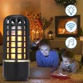 Luz recarregável portátil da noite do efeito da chama do orador estereofónico sem fio Bluetooth para exterior interno