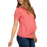 Summer Clothing Short Sleeve Striped Nursing Tops For Mother
