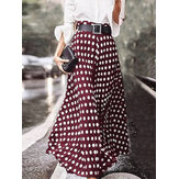 Original              Polka Dot Print High Waist Side Zipper Elegant Loose Maxi Skirts