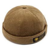 Mens corduroy verstelbare stevige Franse randloze hoed Retro Skullcap Sailor Cap Docket hoeden