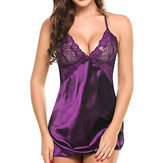 Women Soft Plunge Backless Nightwear