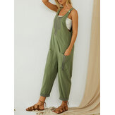 Color Patchwork Loose Casual Overalls Front Pocket Jumpsuit For Women