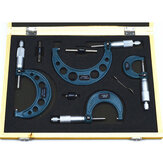 4Pcs Outside Micrometer Set Ratschenstopp Typ 0-100mm (0-25mm / 25-50mm / 50-75mm / 75-100mm)