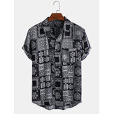 Mens Ethnic Style Printing Plaid Breathable Turn Down Collar Casual Shirts