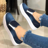 Women Plus Size Slip On Canvas Elastic Band Casual Flats