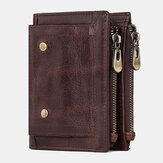 Men Genuine Leather Anti-magnetic Anti-theft Double Zipper Retro Business Card Holder Wallet
