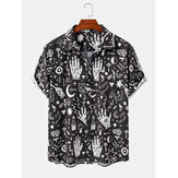 Heren casual abstracte cartoon shirts met korte mouwen