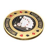 Metall Poker Schutz Card Protector Münze Chip Gold überzogen mit rundem Kunststoff Gehäuse