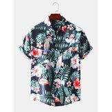 Heren tropische stijl patroon ademende casual shirts met korte mouwen