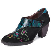 SOCOFY Retro Bordado Lovely Flower Piel Genuina Zapatos cómodos casuales sin cordones
