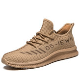 Men Letter Pattern Knitted Fabric Breathable Soft Sole Casual Sneakers