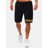 Cotton Mens Gold Stripe Drawstring Black Fitness Workout Shorts With Pocket