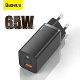 Original              [GaN Tech] Baseus 65W GaN Dual Port Wall Charger PD+QC3.0 Fast Charging Travel Charger EU Plug Adapter for iPhone 12 Pro Max for Samsung Galaxy Note S20 Ultra Huawei Mate 40 OnePlus 8 Pro