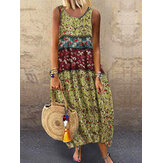 Robe maxi d'été sans manches à imprimé floral et col rond pour femme