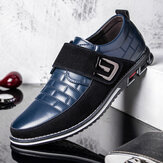 Men Metal Decor Genuine Leather Splicing Non Slip Hook Loop Business Casual Shoes