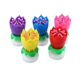 Musical Lotus Rotating Flower Happy Birthday Party Gift Candle Lights