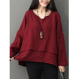 Mulheres V-neck Layered Solid Loose Casual Bluses