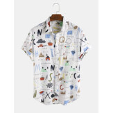 Funny Cartoon Abstract Patterns Breathable Short Sleeve Casual Shirts