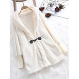 Plus Size Elegant White Faux Fur Winter Warm Hooded Coats