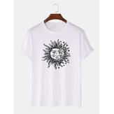 Herren Sun Cartoon Print Rundhals-T-Shirts mit Rundhalsausschnitt