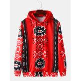 Męskie bluzy z kapturem ze sznurkiem w stylu etnicznym i nadrukiem geometrycznym